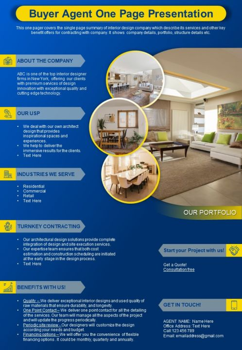 Buyer Agent One Page Presentation Report Infographic PPT PDF Document