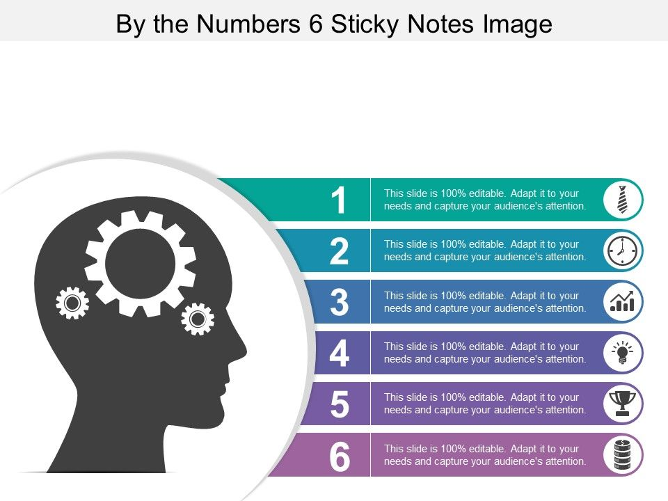 By The Numbers 6 Sticky Notes Image | PowerPoint Slide Templates ...