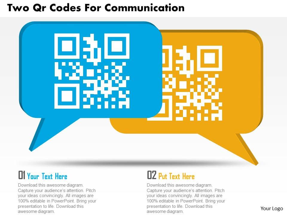ca two qr codes for communication powerpoint template | templates, Modern powerpoint