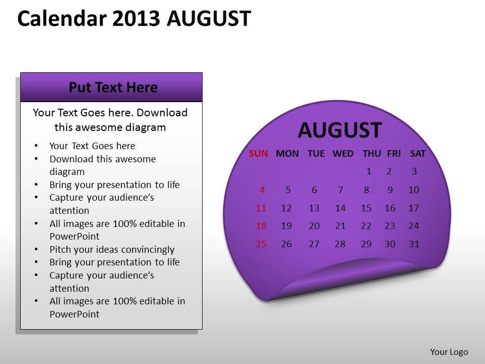 calendar_2013_august_powerpoint_slides_ppt_templates_Slide01