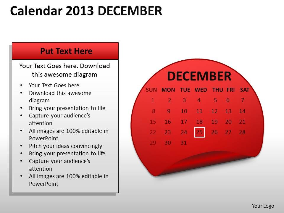 calendar_2013_december_powerpoint_slides_ppt_templates_Slide01