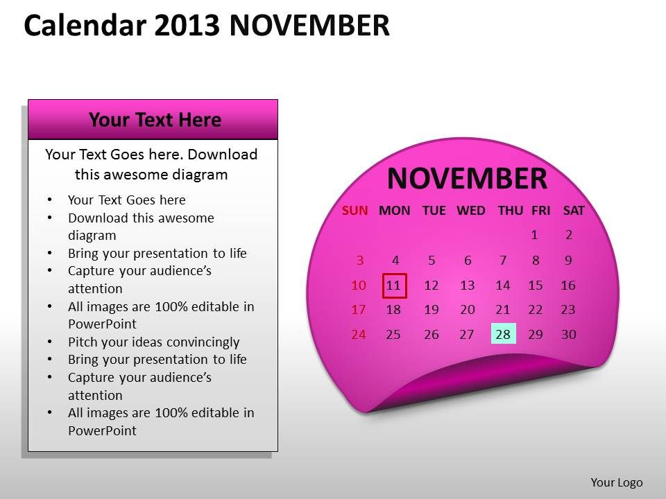 calendar_2013_november_powerpoint_slides_ppt_templates_Slide01