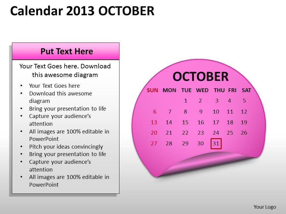 calendar_2013_october_powerpoint_slides_ppt_templates_Slide01