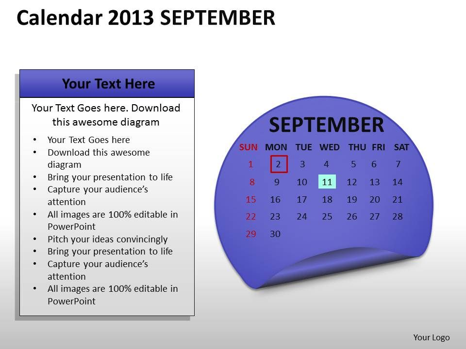 calendar_2013_september_powerpoint_slides_ppt_templates_Slide01