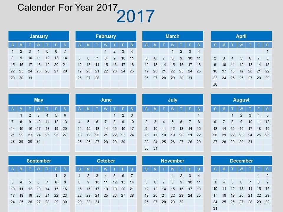 calendar for ppt