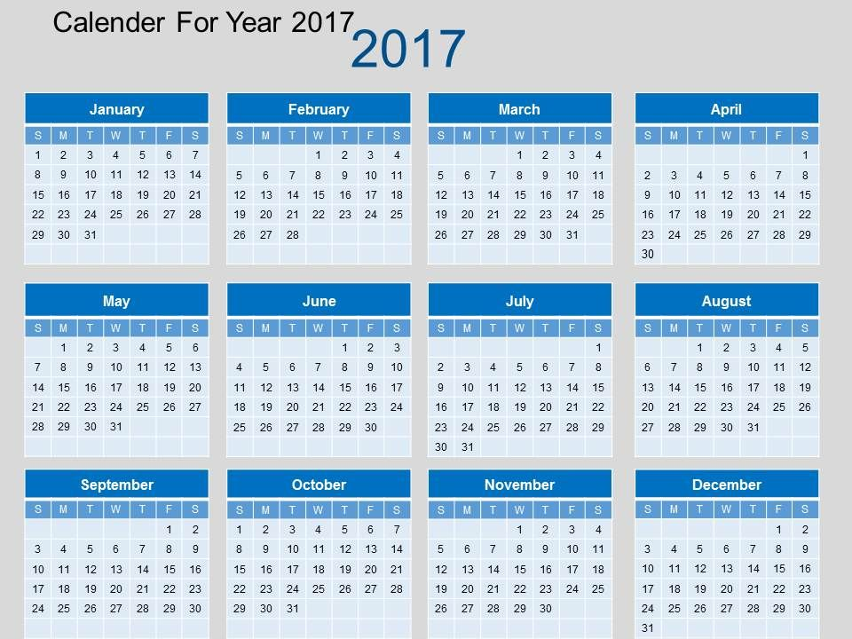 calendar_for_year_2017_flat_powerpoint_design_Slide01