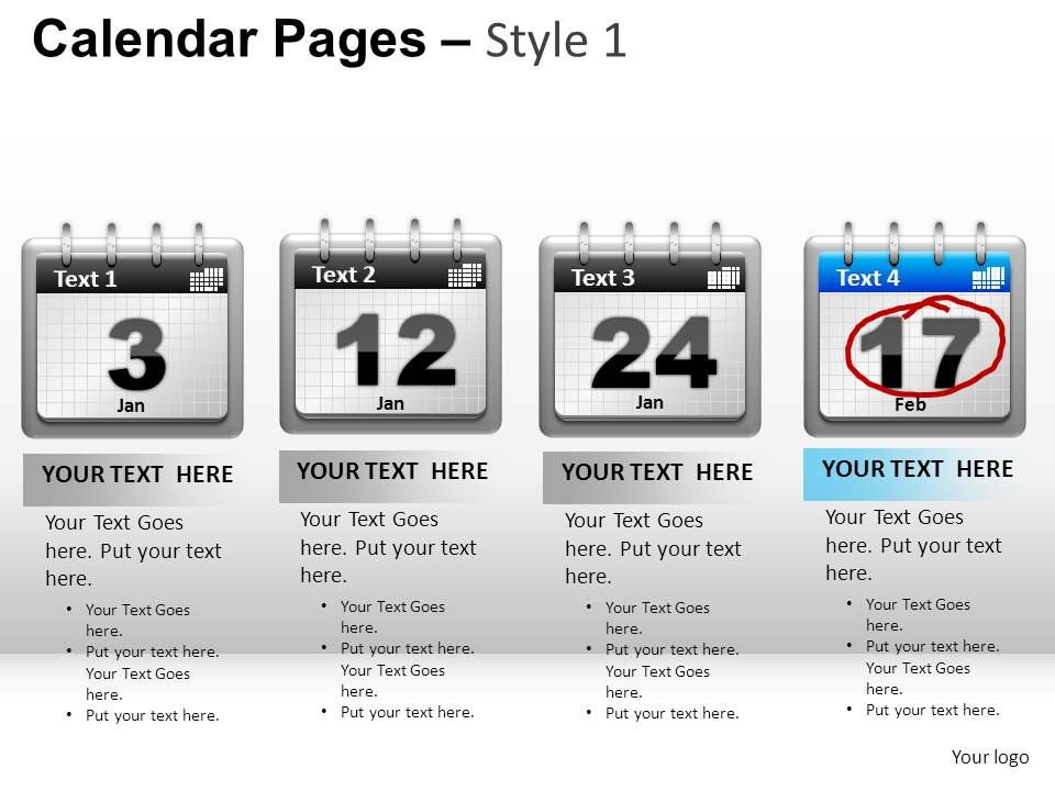 Calendar Art For Powerpoint : Calendar pages style powerpoint presentation slides