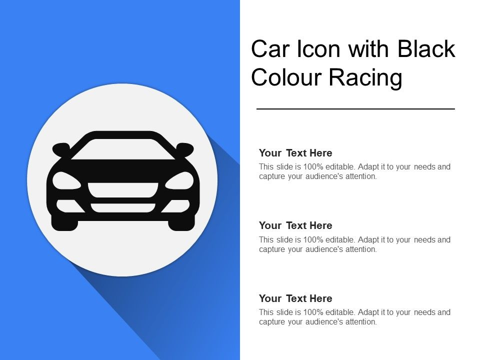 Car Icon With Black Colour Racing | PowerPoint Design