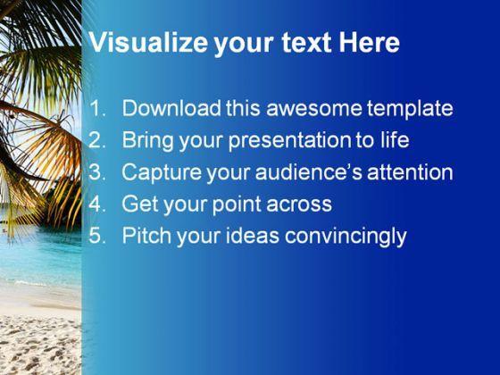 Caribbean Island Beach PowerPoint Template 1010      palm