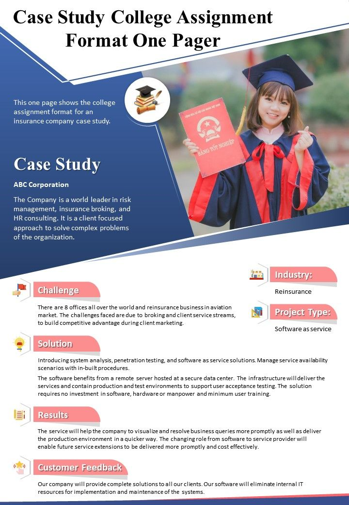 Case Study College Assignment Format One Pager Presentation Report Infographic Ppt Pdf Document Powerpoint Slides Diagrams Themes For Ppt Presentations Graphic Ideas