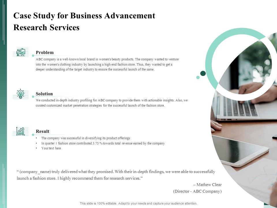 Case Study For Business Advancement Research Services Ppt File Brochure