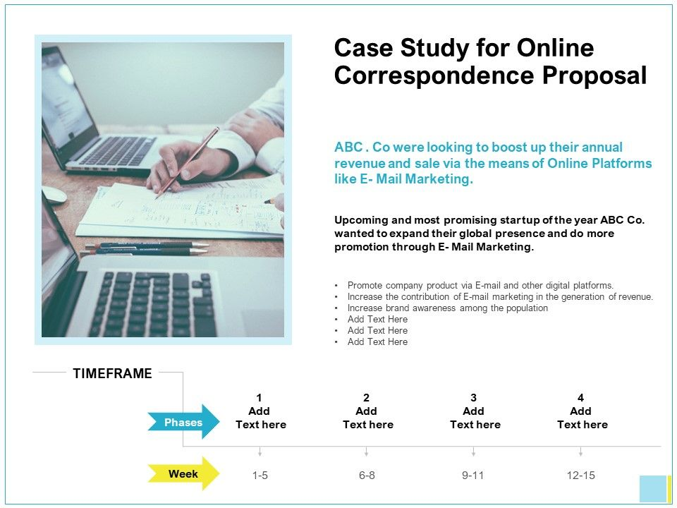 Case Study For Online Correspondence Proposal Ppt Ideas