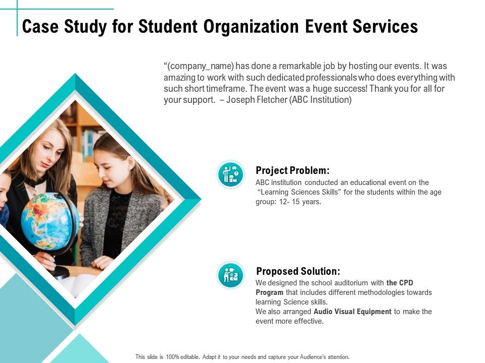 Case Study For Student Organization Event Services Ppt Topics