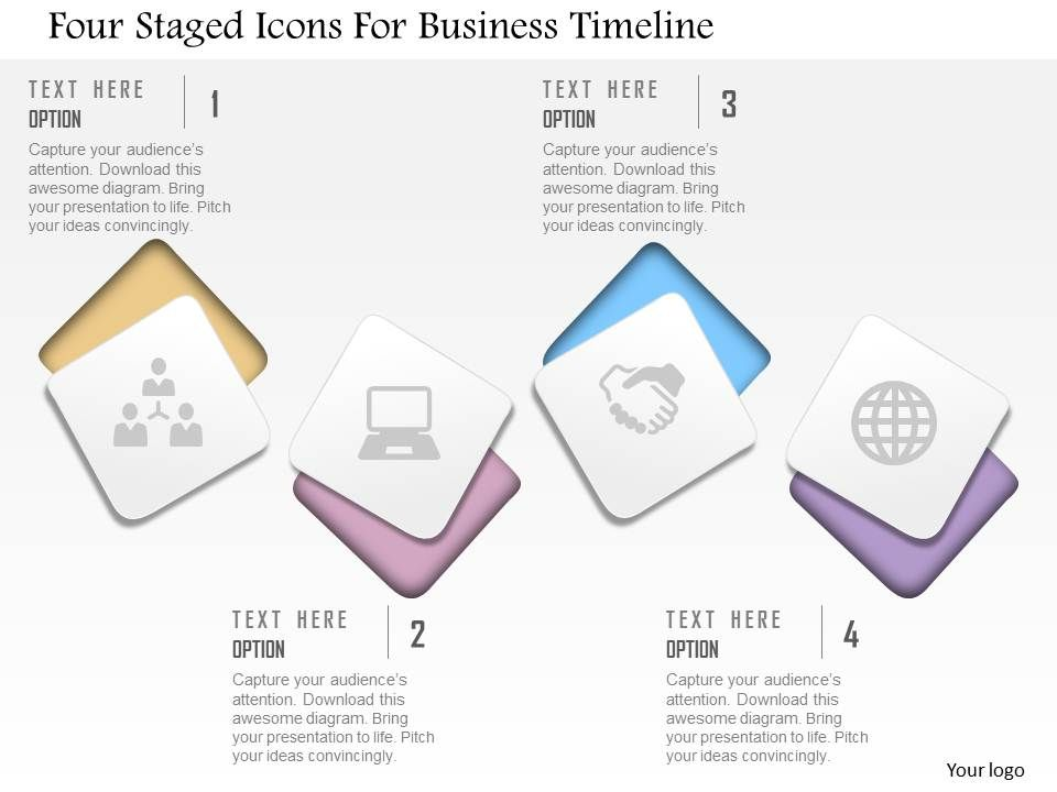 cd four staged icons for business timeline powerpoint template, Presentation templates