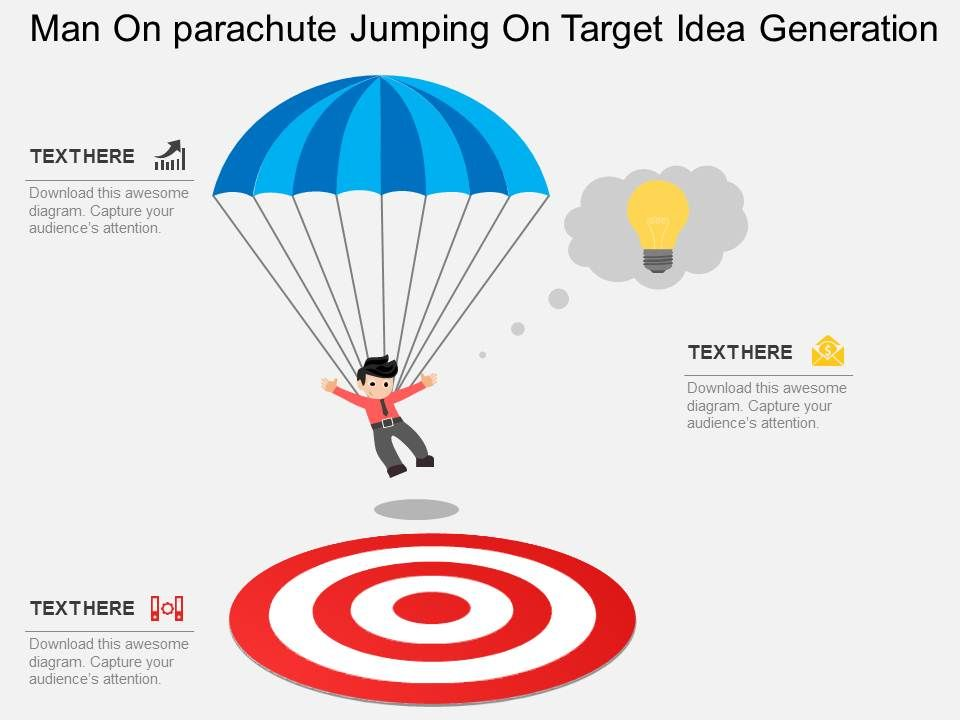 Ce man on parachute jumping on target idea generation flat cemanonparachutejumpingontargetideagenerationflatpowerpointdesignslide01 ccuart Gallery