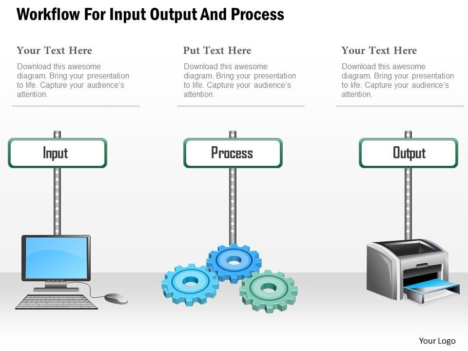 ce workflow for input output and process powerpoint template. Black Bedroom Furniture Sets. Home Design Ideas