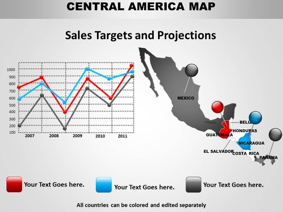 Central America Time Zone Map PowerPoint Slide Template - Central america time zone