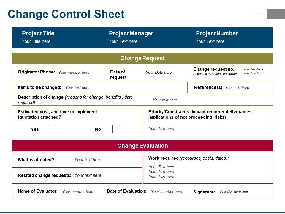Change Control Sheet Ppt Samples Download   Template