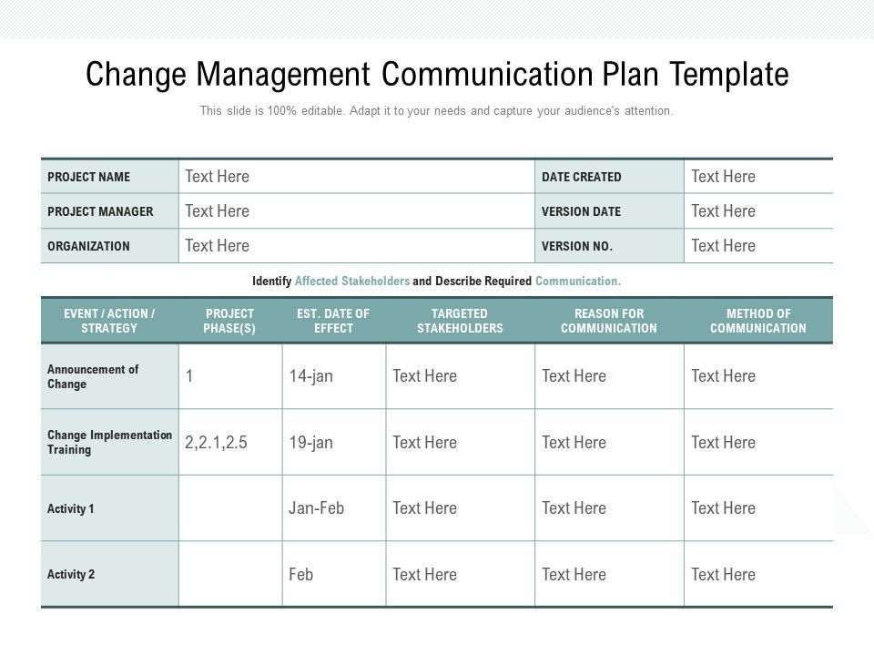 Change Management Plan Template from www.slideteam.net