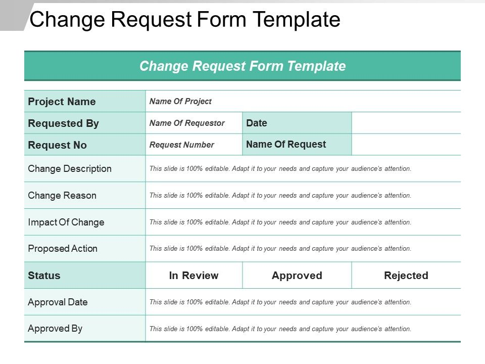 Change Request Form Template Ppt