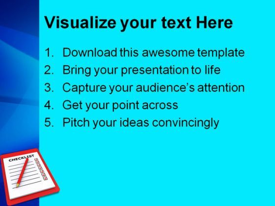 Checklist Business Powerpoint Templates And Powerpoint Backgrounds
