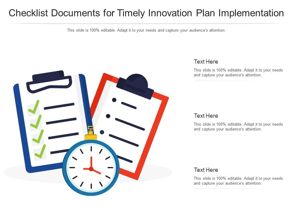 Checklist Documents For Timely Innovation Plan Implementation Infographic Template