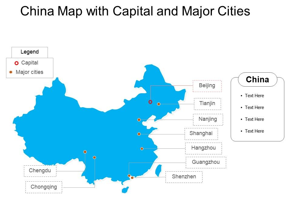 China Map With Major Cities.China Map With Capital And Major Cities Template Presentation