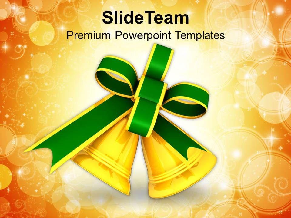 Christian Christmas Golden Bells Holidays Powerpoint Templates Ppt