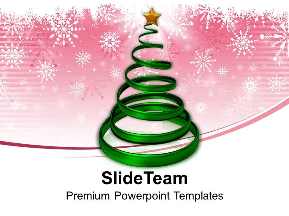 Christian Christmas Tree In Spiral Form With Star Powerpoint