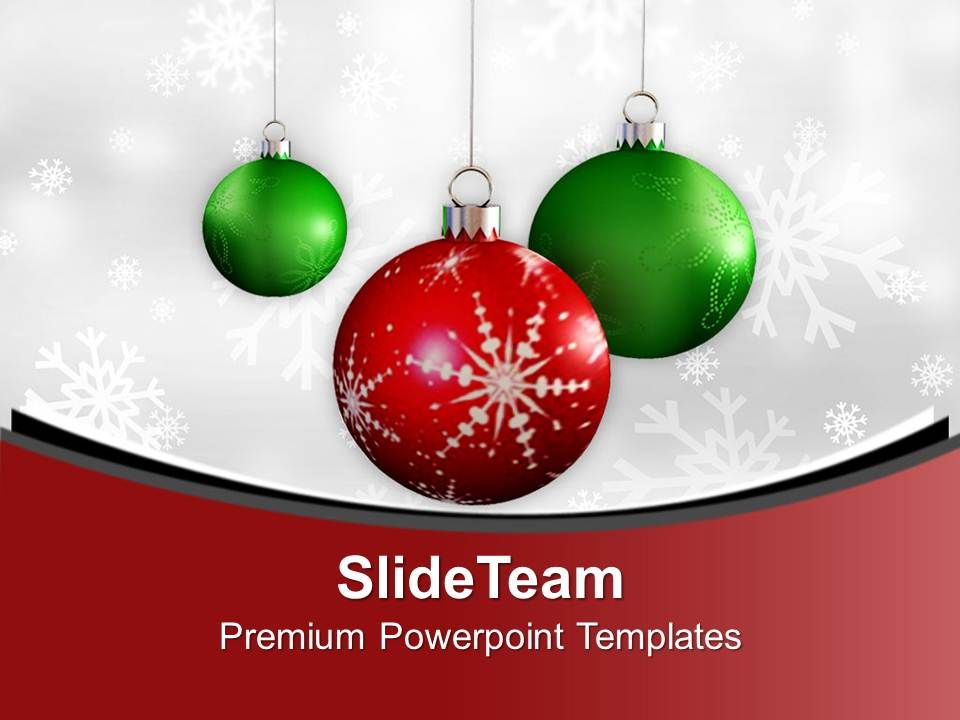 Christmas Baubles With Winter Snowflakes Powerpoint Templates Ppt