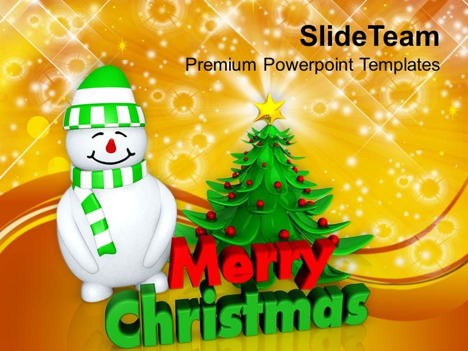 christmas_holiday_attractive_tree_with_snowman_festival_powerpoint_templates_ppt_backgrounds_Slide01