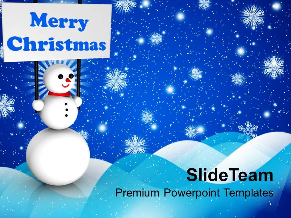 christmas_message_winter_snowman_holding_banner_on_background_powerpoint_templates_ppt_Slide01