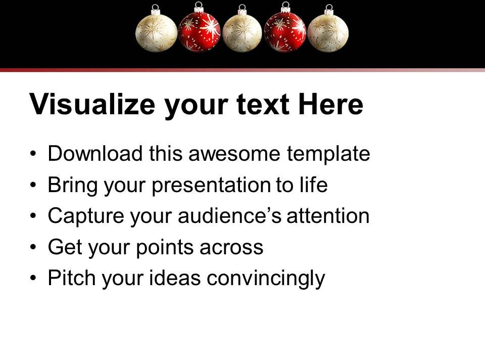 Christmas Pictures Party Balls White And Red Powerpoint Templates