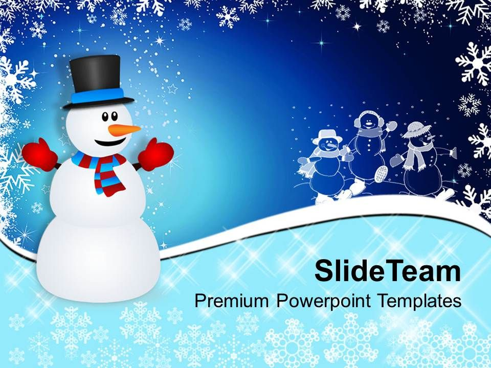 Christmas Stocking Winter Snowman On Background Powerpoint