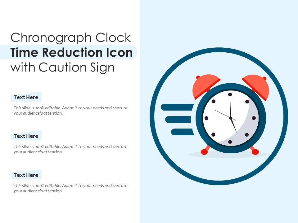 Chronograph Clock Time Reduction Icon With Caution Sign