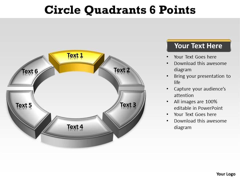 Circle Quadrants 6 Points Editable Powerpoint Slides