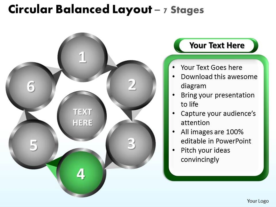 circular balanced layout 7 stages powerpoint diagrams