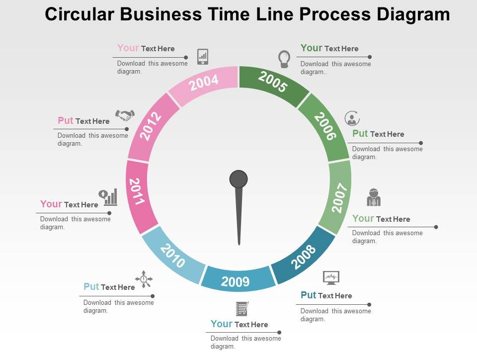 circular_business_timeline_process_diagram_flat_powerpoint_design_Slide01