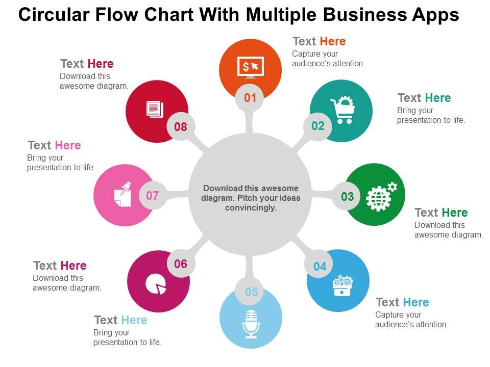 Circular Flow Chart With Multiple Business Apps Flat Powerpoint