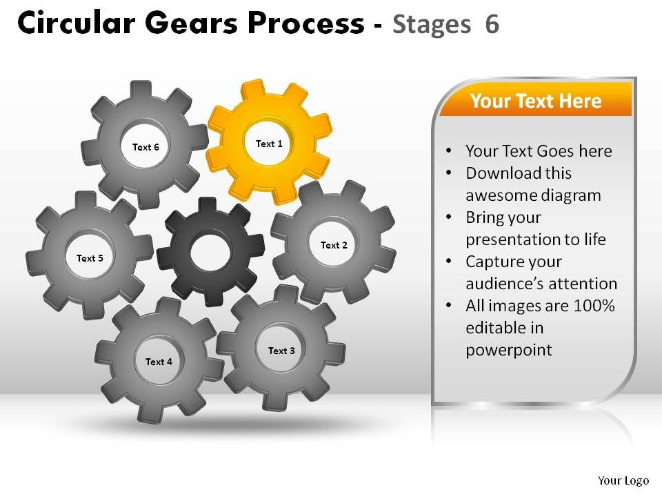 Circular Gears Process Stages 6 Powerpoint Slides | Presentation