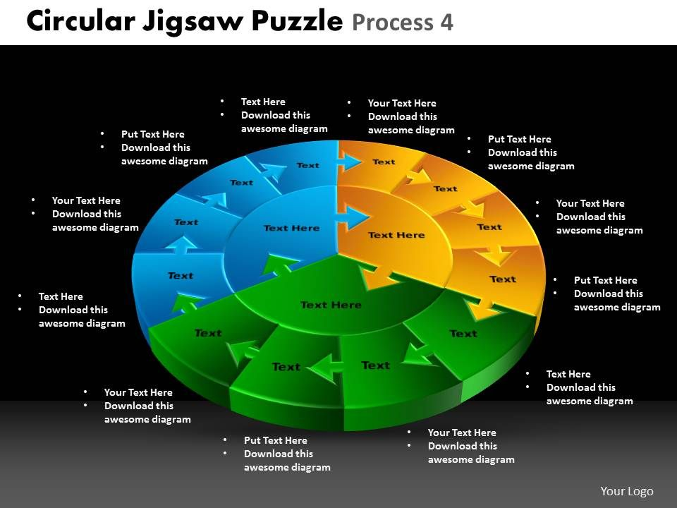 circular jigsaw puzzle process 4 powerpoint slides and ppt. Black Bedroom Furniture Sets. Home Design Ideas