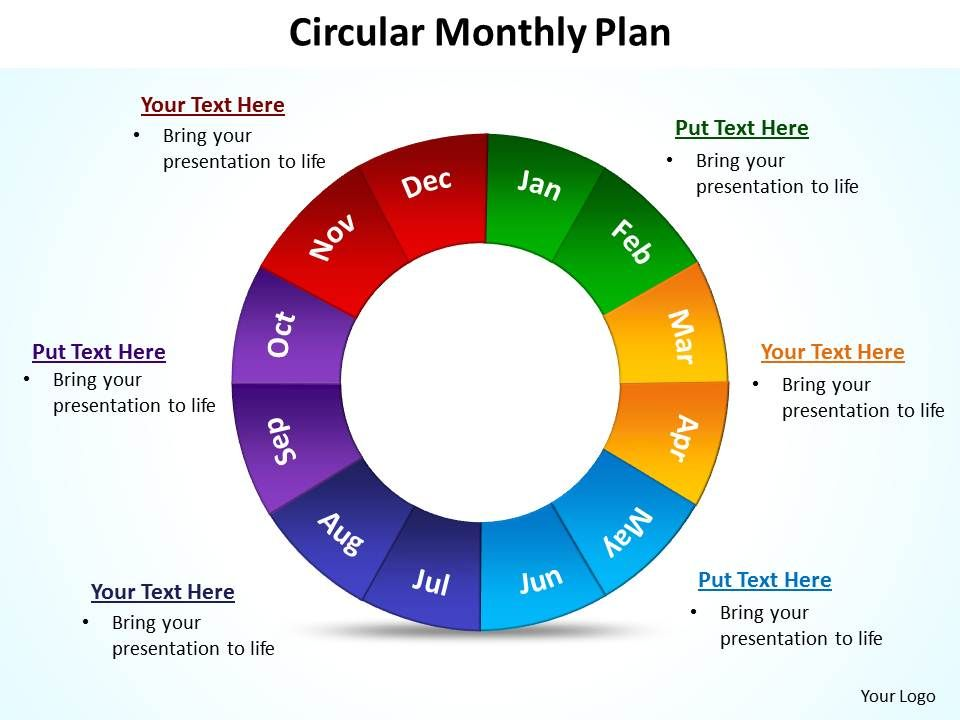 Circular Monthly Plan Powerpoint Diagram Templates Graphics 712