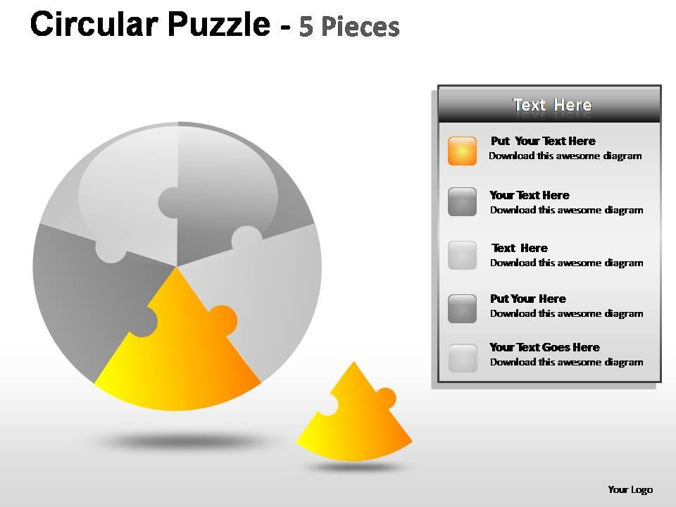 Circular Puzzle 5 Pieces Powerpoint Presentation Slides Slide04 Slide05