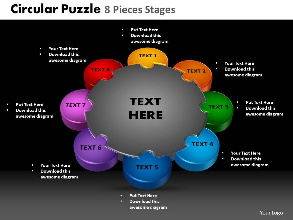 Circular Puzzle 8 Pieces Process Powerpoint Slides And Ppt Templates