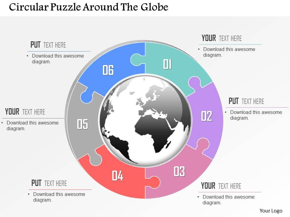 circular puzzle around the globe powerpoint template | powerpoint, Powerpoint templates