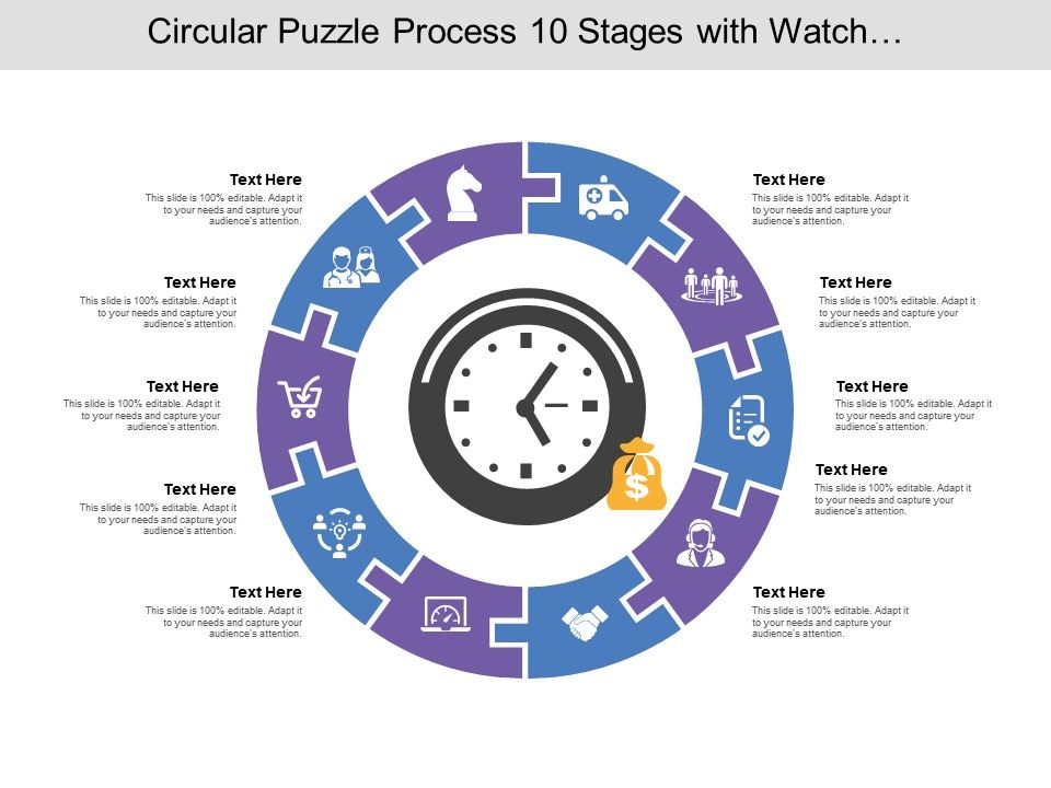 circular_puzzle_process_10_stages_with_watch_and_money_icon_Slide01