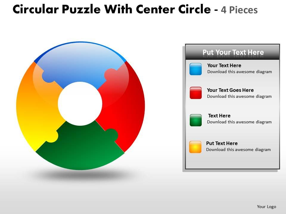 Circular Puzzle With Center Circle 4 Pieces Slide01 Slide02