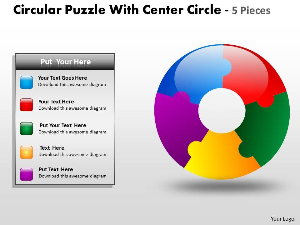 Puzzle with center circle 5 pieces your team will start nibbling at