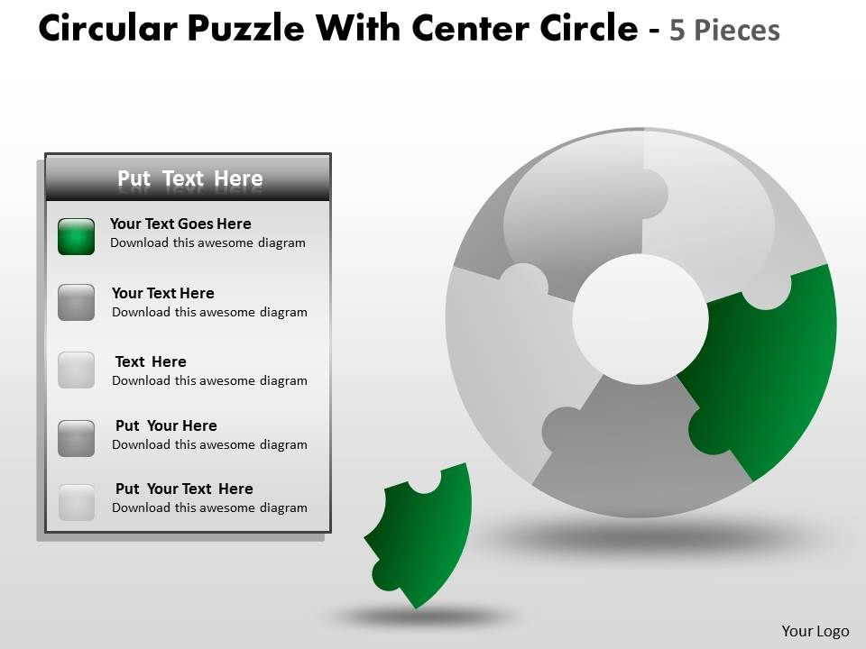 circular_puzzle_with_center_circle_5_pieces_ppt_3_Slide01