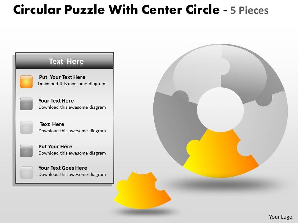 circular_puzzle_with_center_circle_5_pieces_ppt_4_Slide01